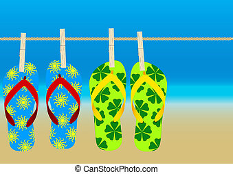 Summer Background - Hanging Flip-Flops on Empty Sandy Beach