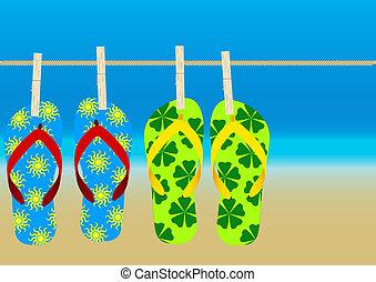 Summer Background - Hanging Flip-Flops on Empty Sandy Beach