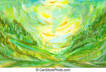 Summer background in green color