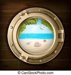 Summer Background In Ship Porthole Illustration