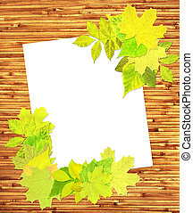 Summer background - Japanese reed mat, paper sheet and...