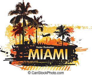 miami summer abstract background with palm tree