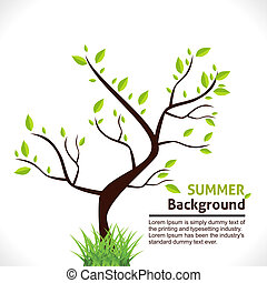 Summer Background of Tree with Green Grass. Vector Design