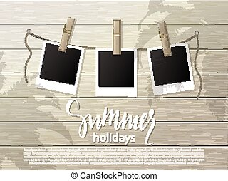 Summer background .Set of photo frames on the rope with clothespin. Wooden wall. Vector illustration.