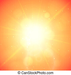 Summer background with a summer sun burst with lens flare, orange vector illustration