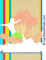 Summer background surfer poster