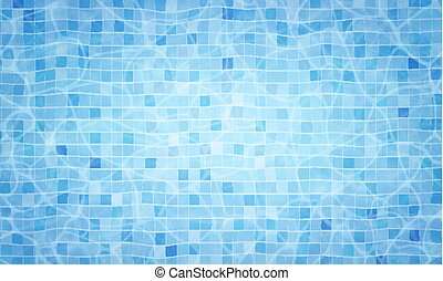Summer background. Swimming pool bottom caustics ripple and flow with waves background. Overhead view. Texture of water surface. Vector background