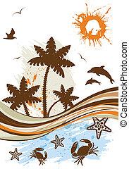 Summer background - Grunge summer background with palm tree,...