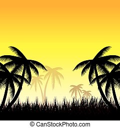 Summer background whit palm trees. vector
