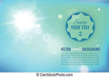 Summer background with a sun burst with lens flare