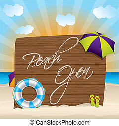 Summer background with beach open sign