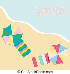 summer background with beach umbrellas