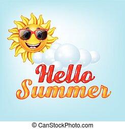 Summer background with cartoon sun