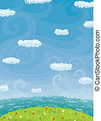 Vector background with summer landscape. Blue sky with clouds, sea, green grass and flowers.