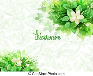 Summer background with composition of branches with fresh green leaves