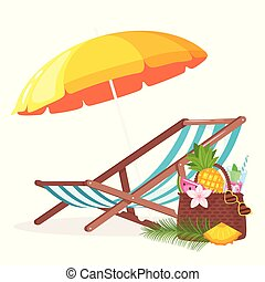 Summer background with deck chair and beach umbrella...