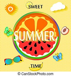 Summer background with fruit slices, butterfly, glasses, sun and clouds. vector illustration
