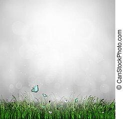 Grass, Flower And Butterflies