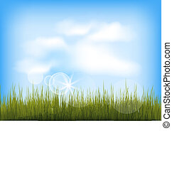 Summer background with green grass, blue sky, clouds