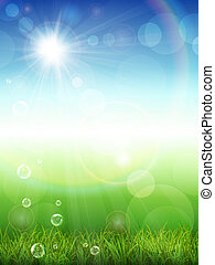 Summer background with green grass - Vector illustration of...