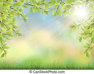 summer background with green leaves