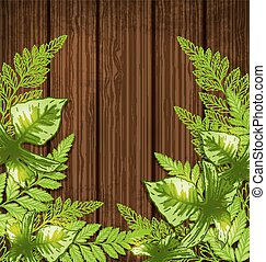Summer background with green tropical leaves. Vector illustration.