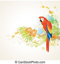 summer background with ornament and parrot - vector summer...
