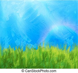 Summer background with paint daubs - Vector summer...