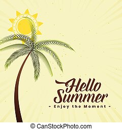 summer background with palm tree and sun