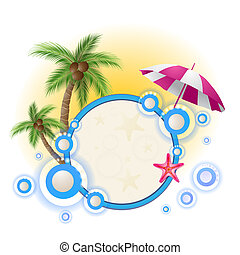 Summer background with palm trees