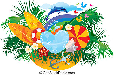summer background with palms, shells, surfboards, rainbow and dolphin