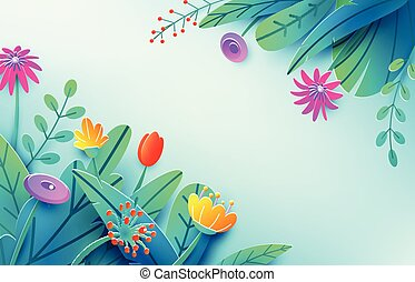 Summer background with paper cut fantasy flowers, leaves, isolated on light. Minimal 3d style floral spring concept. Corner composition, copy space. Bright nature origami bouquet. Vector illustration