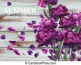 Summer background with peony bouquet on wooden background. Vector realistic 3d floral bouquets