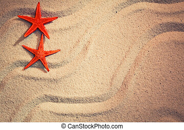 Summer background with sea sand and starfish