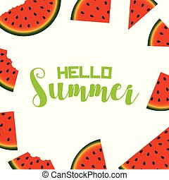 Summer background with slice of watermelon. Vector.
