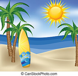 Summer background with surfboard, palm trees and sea in background