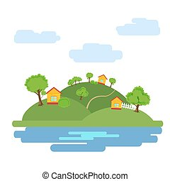 Summer background with the image of the houses among the trees and the lake at the foot of the hills. Vector, illustration in flat style isolated on white background EPS10.