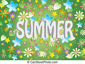 Summer background with the name of the season.