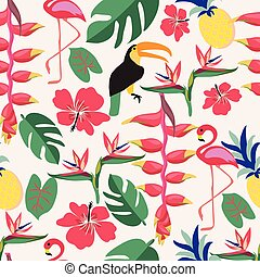 Summer background with tropical plants and birds