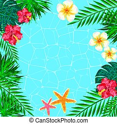 Summer  Background With Tropical Plants And Flowers. vector illu