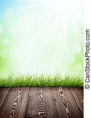 Summer background with wooden floor, green grass and bokeh