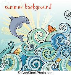 Summer backgrpund with waves and do