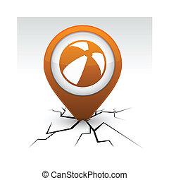 Summer balloon orange icon in crack.