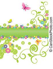 summer banner green with butterflies and flowers