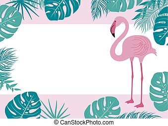 Summer banner of flamingo and tropical leaves vector...
