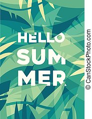 Summer banner, Tropical palm leaves Jungles vector