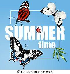 Summer banner with butterflies