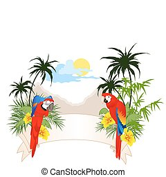 summer banner with parrots - colored summer banner with...