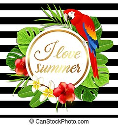 Summer banner with red parrot