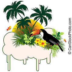 tropical bird and palms